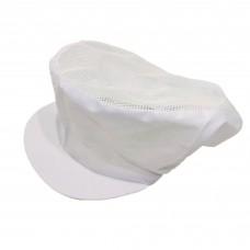 หมวกคลุมผม วัสดุผ้า แบบมีตาข่ายเฉพาะด้านล่าง ติดเมจิกเทป สีขาว