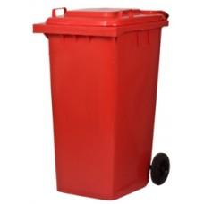 ถังขยะขนาดความจุ 240 ลิตร ทรงสี่เหลี่ยม รุ่น SJ-C240 ( W ) ฝาเรียบ-มีล้อ สีแดง